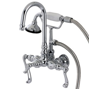 Royale Wall Mount Clawfoot Tub Faucet with Curved Lever Handles