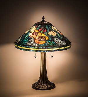"21.5""H Tiffany Poppy Cone Table Lamp"