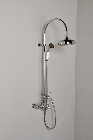 Thermostatic Exposed Gooseneck Shower Set with Multi Function Diverter & Handheld Shower