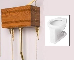 Solid Wood Mortised High Tank Toilet with Porcelain Bowl