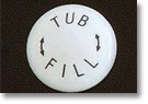 Volume Control Handle Porcelain Button - TUB FILL Text