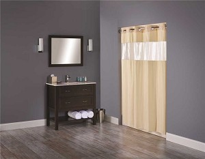 Hookless Vision 71 inch x 74 inch Beige Shower Curtain with Clear Vinyl Window