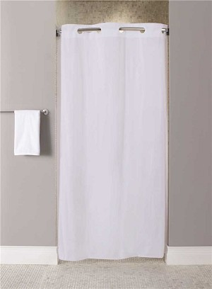 Hookless Stall Size 42 inch x 74 inch White 10-Gauge Shower Curtain