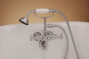 Diverter Leg Tub Faucet with Handheld Shower