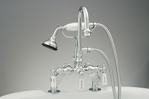 Deck Mount Gooseneck Faucet and Handheld Shower w/Variable Centers