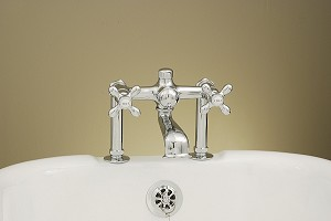 Deck Mount Leg Tub Faucet with Crosspoint Handles - Capped