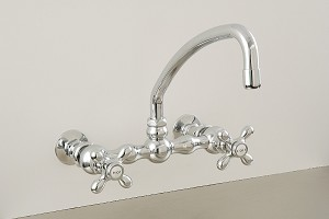 American Wall Mount Kitchen Faucet with Curved Spout and Cross Point Handles