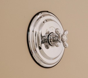 Thermostatic Control Valve with Round Plate and 4 Spoke Handle.