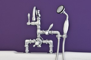 Thermostatic Deck Mount Faucet w/ Vertical Handheld Shower