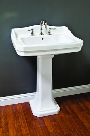 Porcelain Deco Pedestal Sink w/ Backsplash