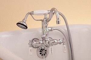 Leg Tub Faucet with Handheld Shower